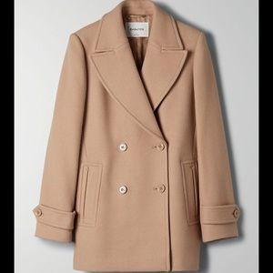 Babaton Ellison Wool Coat XS Cream Camel Aritzia